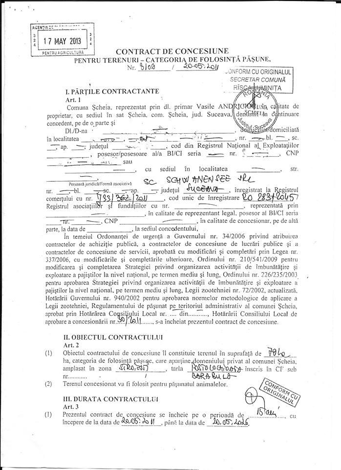 Contractul pe care apare numele firmei SC SCHAWANESEE SRL