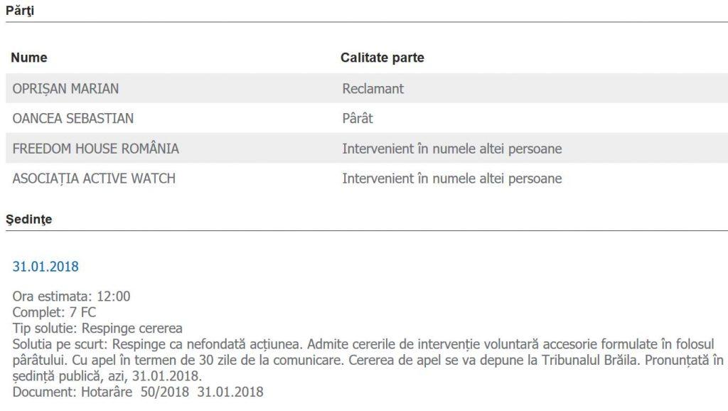 """OFENSAT degeaba. Oprișan pierde la Brăila procesul contra ziaristului Sebastian Oancea pentru cuvântul """"NABAB"""" 1"""